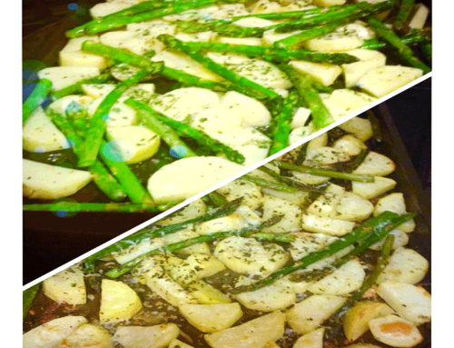 Easy, oven-baked potatoes and asparagus!